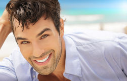 Man with big smile. Great looking young man outdoors with big happy smile Royalty Free Stock Photography