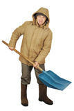 Man with a big spade for snow cleaning Stock Image