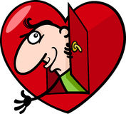 Man in big valentine heart cartoon illustration Royalty Free Stock Image
