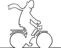 Man on bike. Black and white illustration of a man on a bike Stock Photography