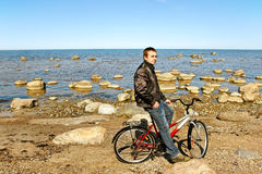 Man and bike. Royalty Free Stock Photo