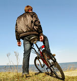 Man and bike. Royalty Free Stock Photos