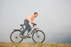 Man on the bike Royalty Free Stock Photo