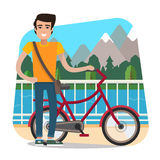 Man on bike Stock Image