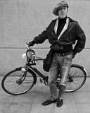 Man with Bike. In Bloomsbury, London. W1 Stock Photo