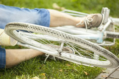 Man with bike. Man with the bike on the grass Stock Photos