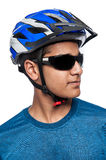 Man in Bike Helmet. Royalty Free Stock Photos