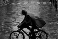 Man on a bike in the rain royalty free stock photo