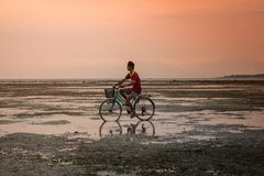 Man on bike at sunset Royalty Free Stock Photography