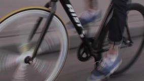 Man on bike in traffic stock video