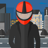 Man in biker helmet. Royalty Free Stock Images
