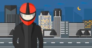 Man in biker helmet. Stock Image