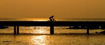 Man biking on bridge Stock Photography
