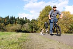 Man biking with dog Stock Images