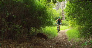 Man biking through a forest. In the countryside stock video