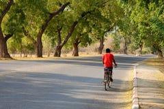 A man biking on rural street in Bagan Stock Image