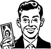 Man With Billion Dollar Bill royalty free illustration