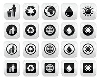 Man and bin, recycling, globe, eco buttons set Royalty Free Stock Photography