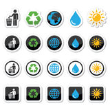 Man and bin, recycling, globe, eco power icons set. Vector icons set - ecology, recycling concept isolated on white Royalty Free Stock Image