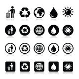 Man and bin, recycling, globe, eco power icons set Royalty Free Stock Images