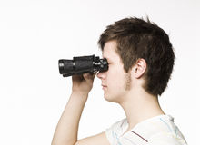 Man with binocular Royalty Free Stock Photos