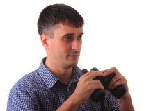 Man with binocular isolated on white Stock Photo