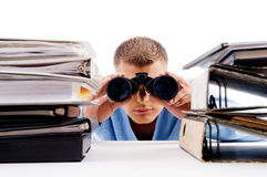 Man with binocular searching Royalty Free Stock Photos