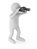 Man with binocular on white background Stock Photos