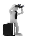 Man with binocular on white background. 3d image Royalty Free Stock Image