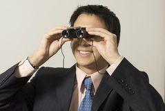 Man with Binoculars Royalty Free Stock Image