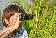 Man with binoculars in high grass Royalty Free Stock Photo