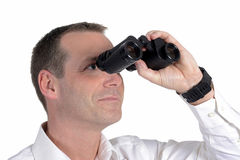 Man with binoculars Stock Photos