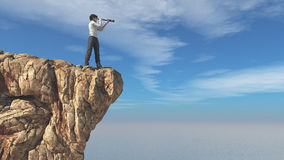 Man with binoculars. On a rock looks at ocean. This is a 3d render illustration Stock Photos