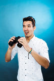 Man with binoculars Stock Image