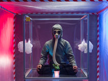 Man in biohazard suit and mask Stock Images