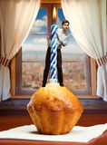 Man on birthday cake Royalty Free Stock Photos