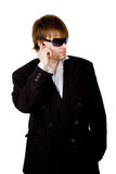 Man in black. Listens to the message royalty free stock photo