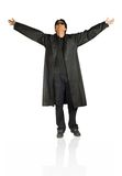 Man in black with arms open Stock Image
