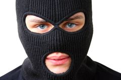 Man in black balaclava Stock Image