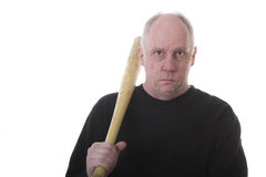 Man in Black with Bat on Shoulder Stock Photos