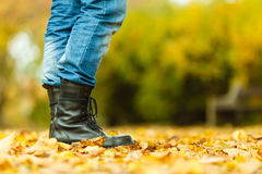 Man in black boots. Royalty Free Stock Image