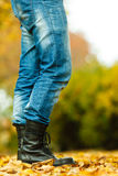 Man in black boots. Stock Image