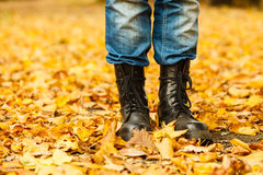Man in black boots. Royalty Free Stock Images