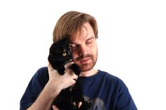 Man and black cat Royalty Free Stock Photo
