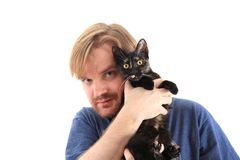 Man and black cat Stock Photography