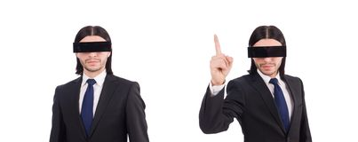 The man with black cover on his eyes. Man with black cover on his eyes royalty free stock images