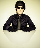 Man in Black Dress Shirt Wearing Half Helmet Royalty Free Stock Photography