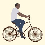 The man in black glasses riding a bike, flat style Stock Photos
