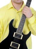 Man with black guitar. Stock Photo