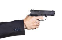 Man with black gun stock photography